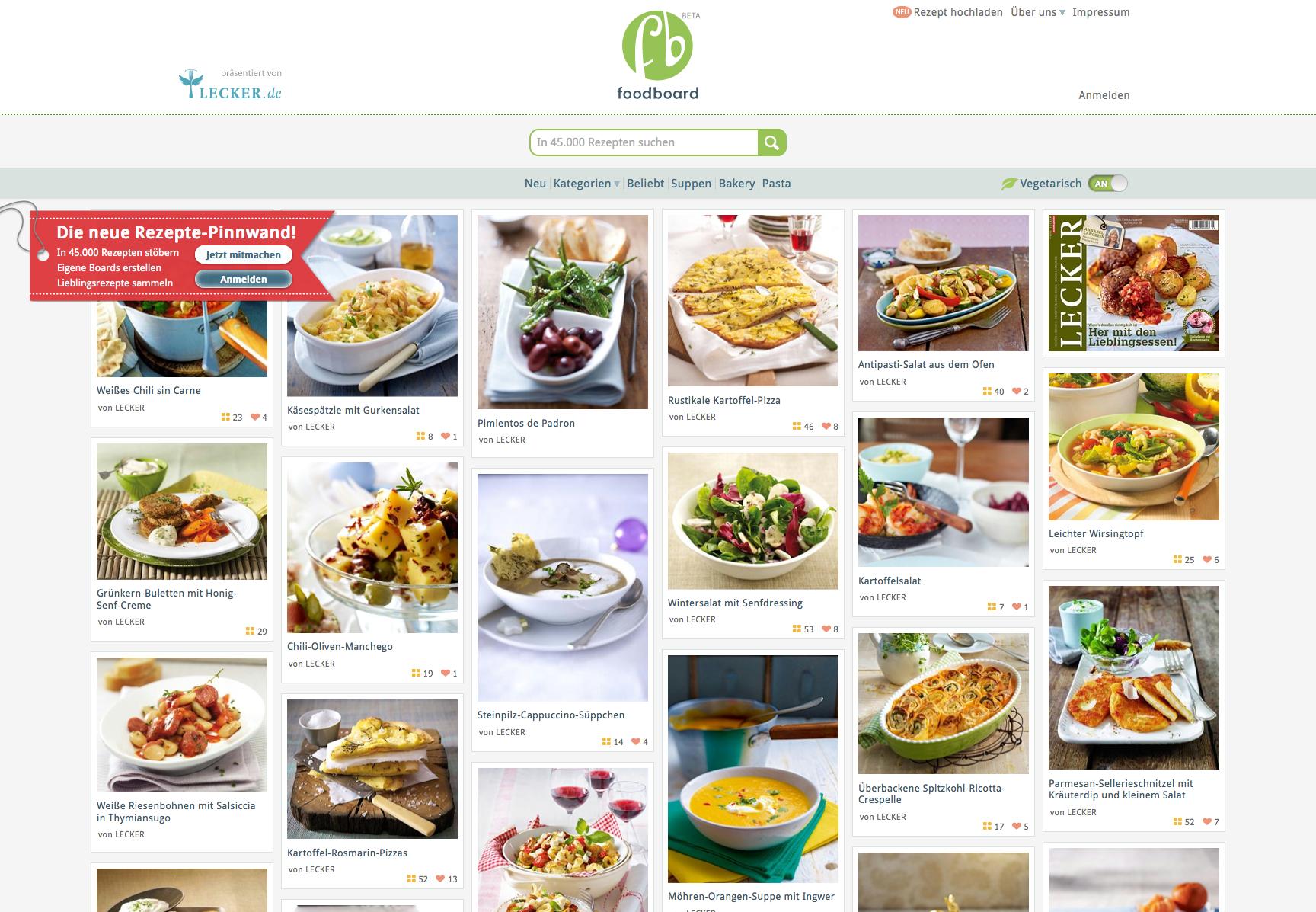 Zeitschrift Rezepte dürfen wir vorstellen das neue foodboard oder wo die köstlichsten